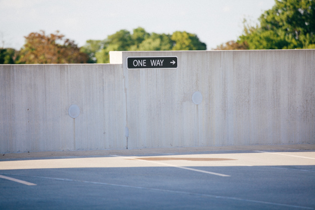 One way sign in car park