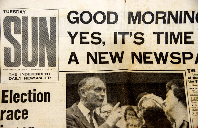 Front page of 'Sun' newspaper, first issue, 1964 UK election race