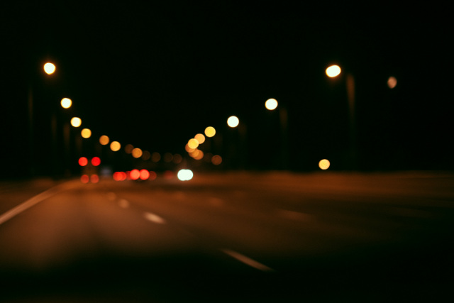Highway and lights at night
